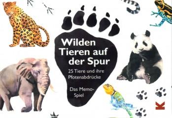 Wilden Tieren auf der Spur 25 Tiere und ihre Pfotenabdrücke– Memo Spiel