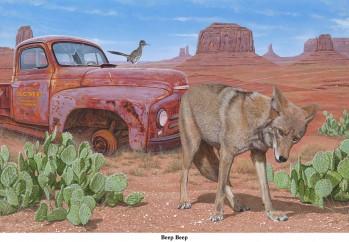 'Beep Beep'  Coyote (Canis latrans), Greater Roadrunner (Geococcyx californianus),
